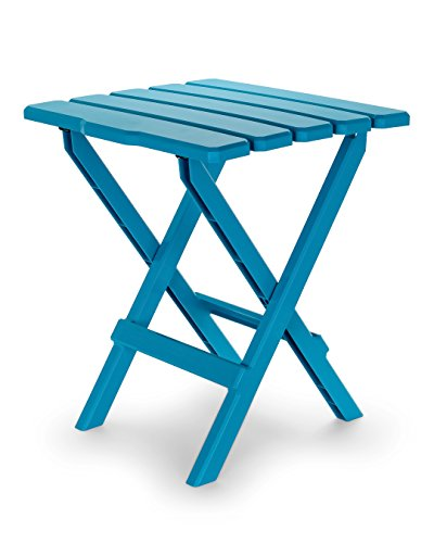 Camco 51690 Aqua Large Adirondack Portable Outdoor Folding Side Table, Perfect for The Beach, Camping, Picnics, Cookouts and More, Weatherproof and Rust ()