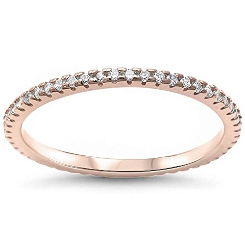 1.5mm Thin Full Eternity Wedding Band Ring Stackable Round CZ Yellow Gold Rhodium Plated 925 Sterling Silver