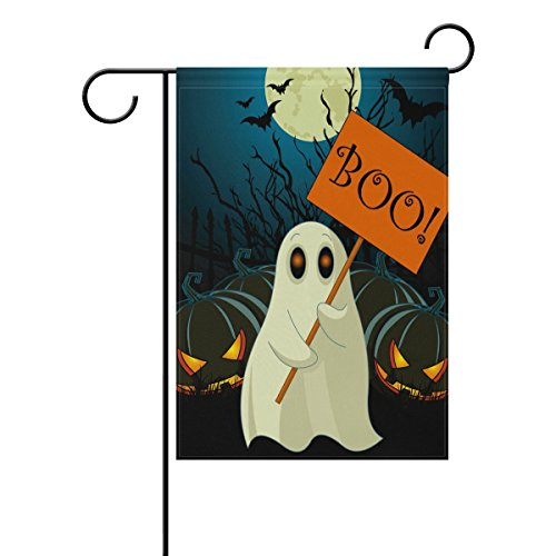 Naanle Halloween Boo Ghost Pumpkin Double Sided Polyester Garden Flag 12 X 18 Inches, Winter Halloween Holiday Decorative Flag for Party Yard Home Decor