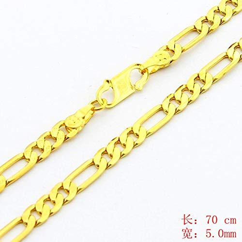 Yellow Style Women/Man Design Figaro Chain Pendant Gold Color Plated Jewelry Necklace Qjw074 ()