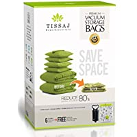 6 Pack Tissaj Space-Saver Vacuum Storage Bags (Jumbo)