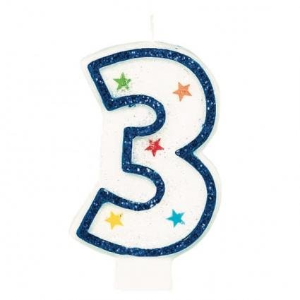 Star Studded Flat Molded Number 3 Celebration Candle, White , 3.5