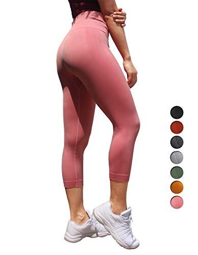 Dutte Dutta Womens Pink Yoga Pants Outdoors High Waist Tummy Control Workout Leggings, M -