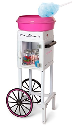 Nostalgia CCM200 Vintage Hard & Sugar-Free Cotton Candy Cart-36 Inches Tall, 36-Inched, White/Pink