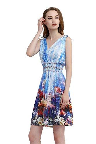 Jinhuanshow Women's Low Cut Printed Above Knee Sleeveless Dresses(M,Painting)