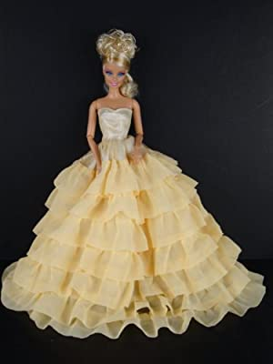 Blue and Yellow Princess Dress with a Very Long Skirt Made to Fit Barbie Doll