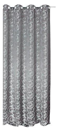 Übergardine garngefärbter Jacquard mit Ösen 140x245 Barock Stil Ranken Muster Vorhang blickdicht lichtdurchlässig - silber grau