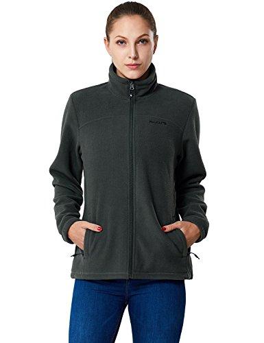 Baleaf Women's Full-Zip Thermal Fleece Jacket Gray Size S