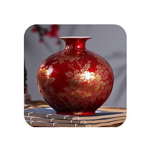 Chinese Style Vase Classical Porcelain Crystal Glaze Flower Vase Home Decor Handmade Shining Famille Rose Vases,red Pomegranate