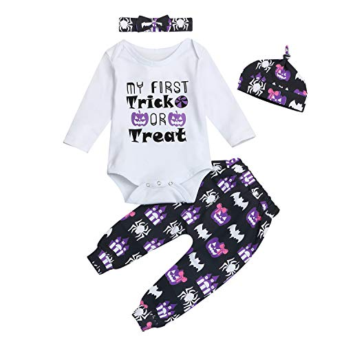 4Pcs Infant Baby Girl Halloween Outfit Set Long Sleeve Bodysuit Pants with Hat and Headband (White02, 6-12 Months) -