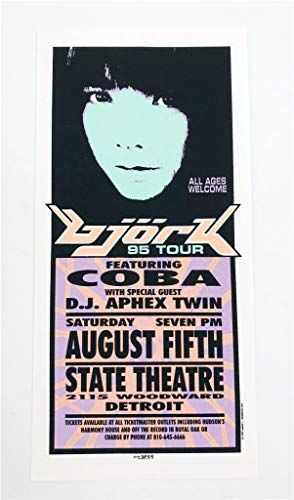 Bjork Coba DJ Aphex Twin Rock Concert Silkscreen Handbill Poster Mark Arminski