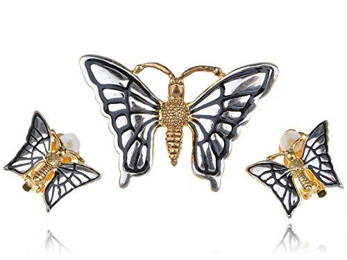 Silvery White & Golden Tone Flying Butterfly Costume Cute Brooch Earring Set