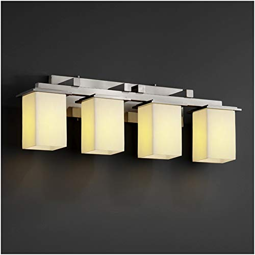 Justice Design Group CandleAria 4-Light Bath Bar - Brushed Nickel Finish with Cream Faux Candle Resin Shade