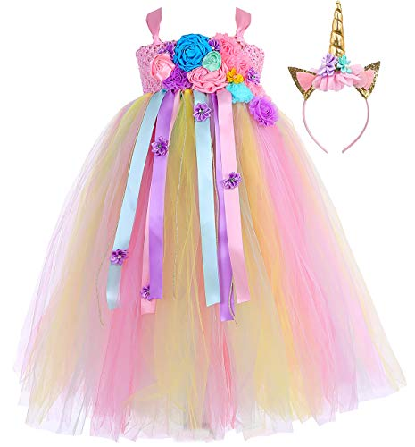 Tutu Dreams Halloween Unicorn Dress Costumes Teen Girls Size 10-12 Plus Size Flower Girls Unicorn Dress Up (Pink-Rainbow, XXX-Large)]()
