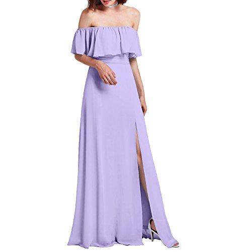 Amore Mousseline De Mariée De Robe De Mariée Épaule Lavande Robe De Demoiselle D'honneur De Soirée Haute Fente