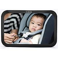 Bebé y mamá Asiento trasero Espejo para bebé - Vista posterior Espejo para asiento de automóvil para bebé Ancho Convexo Vidrio irrompible y completamente ensamblado - Probado contra choques y certificado para seguridad