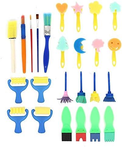 画筆セット 25Pcs子供たちはスポンジローラーブラシ落書きペン描画玩具DIYツールアーティストペイントセットをペイント絵画 幅広い用途と良い感触 (色 : Multi-colored, Size : 25pcs)