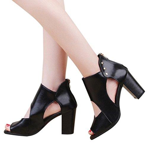 Hffan Damen Einfach Elegant Mode Stiefel Booties Herbst und Winter Stiefeletten 4.5cm High Heels Hollow Einfach Braun Schwarz Schuhe Undichte Zehe Dicker Absatz Schwarz