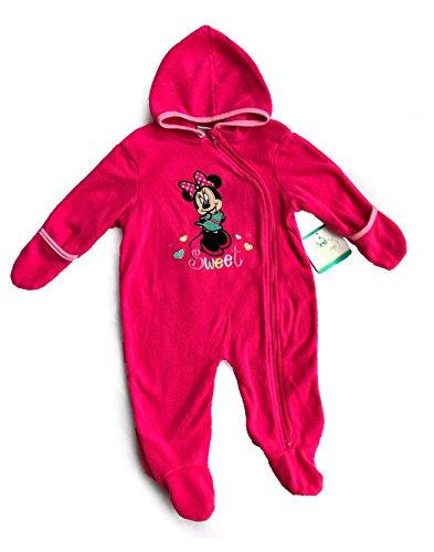 Disney Baby! Baby Girl Fleece Footed Costume - Fleece Hooded Jumpsuit - Bodysuit - Pajamas - Pram (3-6 Months, Minnie (1810 Costumes)