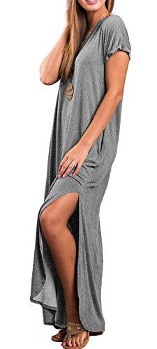 Dal Casuali Donne Breve Vestito Vestiti Delle Dividere Manicotto 03 grigio Grecerelle Lungo Tasca Allentato Maxi wXTwr