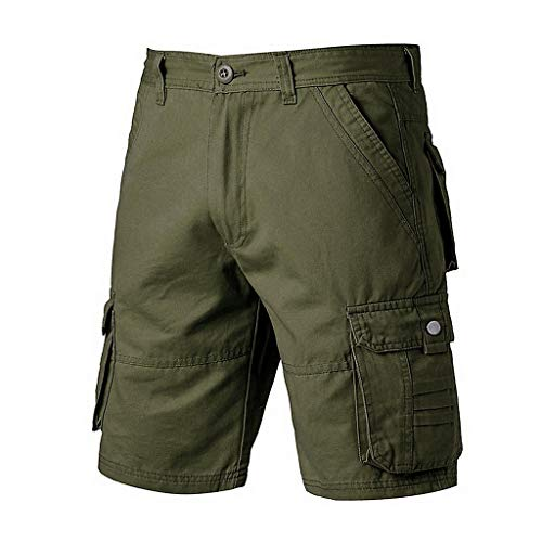 Men's Cargo Shorts Elastic Waist Casual Stretch Solid Relaxed Fit Big & Tall Solid Outdoor Cotton Short Pants