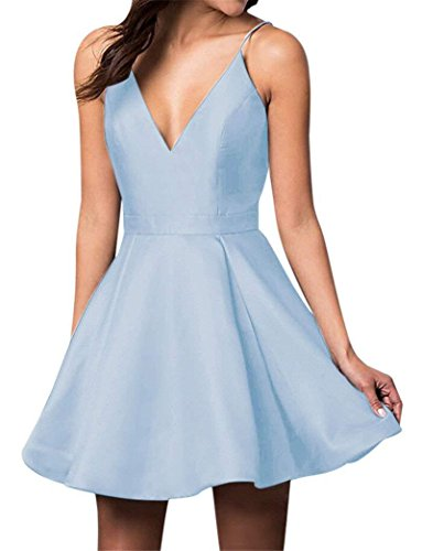 Short Homecoming Dress A-Line V-Neck Spaghetti Straps Satin Prom Dress with Pockets Cocktail Blue US2 ()