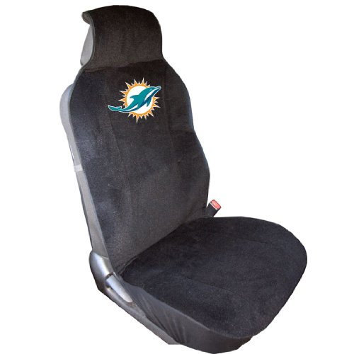 NFL Miami Dolphins Seat Cover, One Size, Black (Covers Seat Miami)