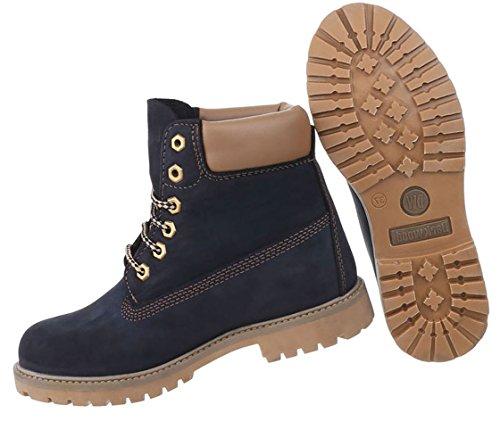 81b5ff5b715a13 Damen Schuhe Stiefeletten Leder Schnür Boots Dunkelblau - porta ...