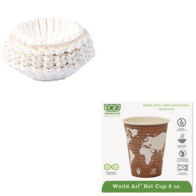 KITBUN1M5002ECOEPBHC8WA - Value Kit - ECO-PRODUCTS,INC. World Art Renewable Resource Compostable Hot Drink Cups (ECOEPBHC8WA) and Bunn Coffee Commercial Coffee Filters (BUN1M5002) by Eco-Products, Inc