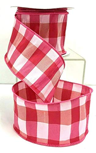 (Ribbon Art Craft Decoration Dupion Check Wired Edge Ribbon~Two Tone Pink, White~2 1/2