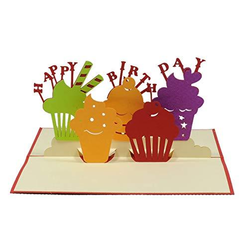 Happy Birthday Greeting 3d Pop Handmade Art Bday Cupcakes Card with -