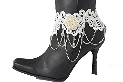 TFJ Women Western Boot Chains Bling Bracelet Silver Metal Chain White Lace Fabric Shoe Flower Charm - Kelly Kelly Halloween Costumes Cm Punk