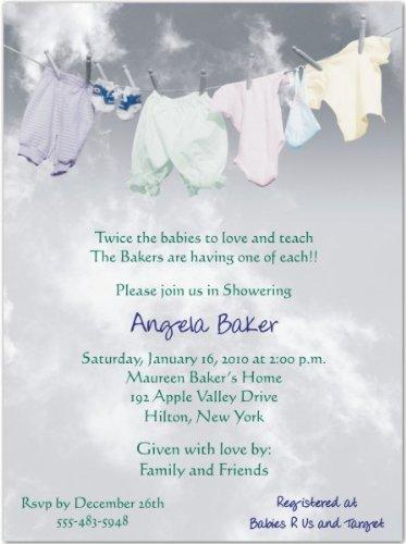 Clothesline Baby Shower Invitations - Set of (Baby Clothesline Invitation)