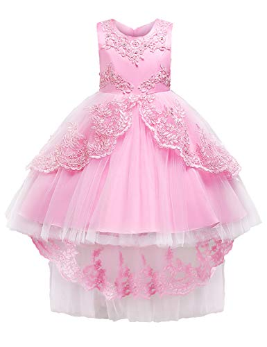 (JOYMOM Princess Dress, Baby Pink Sleeveless Scoop Neck Beaded Tutu Tulle High-Low Hem 3D Flower Appliques Tie Waist Lightweight Layered Bodice Formal Prom Bridal Masquerade Dresses)