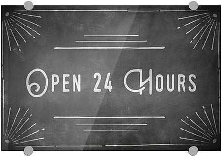 Open 24 Hours 27x18 Chalk Corner Premium Acrylic Sign CGSignLab 5-Pack