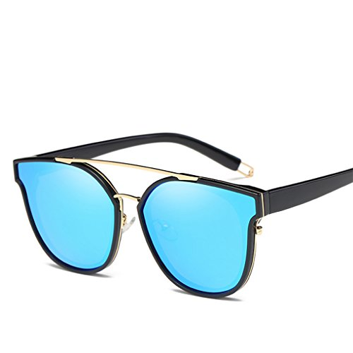GAMT Retro Metal Polarized Sunglasses Fashion Oversized For Women and Men Black - Reflective Blue Sunglasses India
