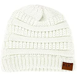Inverlee Women Baggy Warm Crochet Winter Wool Knit Messy High Bun Ponytail Beanie Hat (White)