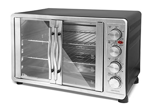 Maxi-Matic ETO-4510M Double Door Toaster Oven Rotisserie, Bake, Grill, Broil, Roast, Toast, Keep Warm, 23L Capacity, Stainless Steel