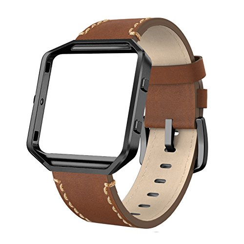 SWEES Leather Bands Compatible Fitbit Blaze Smart Watch, Genuine Leather Replacement Band Metal Frame Small & Large Women Men, Champagne Gold, Rose Gold, Black, Brown, White, Grey, (Large Brown Leather)