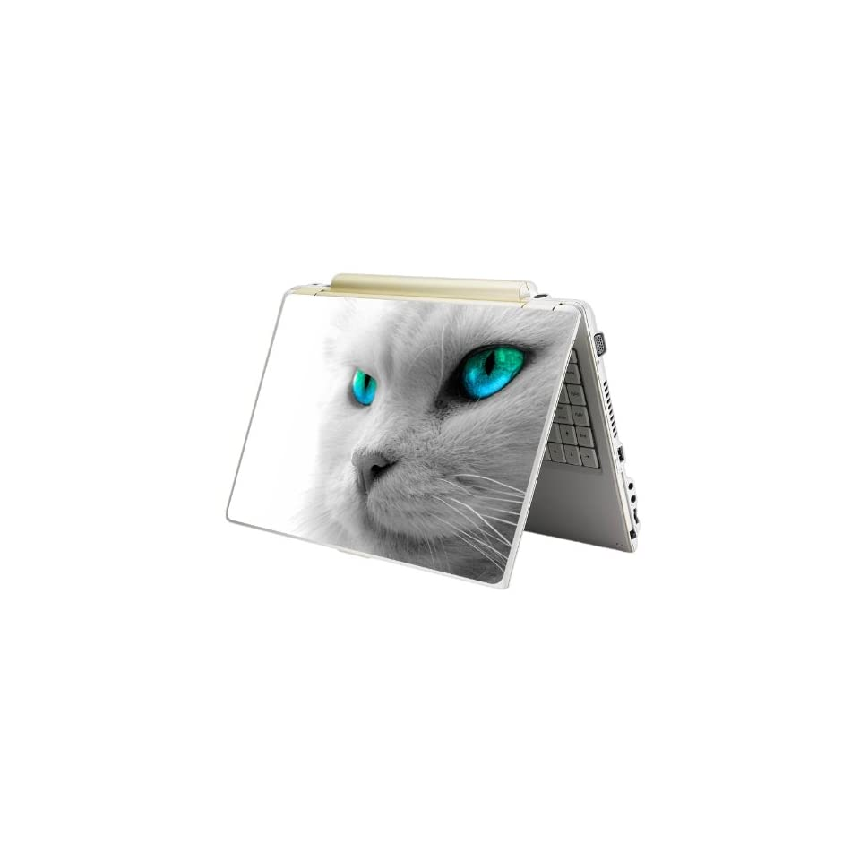 Bundle Monster Laptop Notebook Skin Sticker Cover Art Decal 12, 14, 15 Inches, Fit HP Dell Asus Compaq   Blue Eye Cat