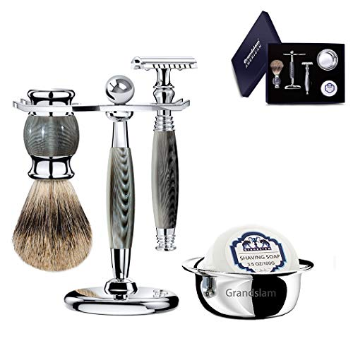 Luxury Shaving Gift Set Safety Razor Shaving Brush Stand for Men Grooming Set for Father