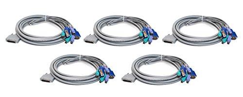 5 Lot Genuine J5475 Dell 12Ft Apex Dual Ps 2 Kvm Scsi Vga Cord Cable Compatible Part Numbers  J5475  0J5475