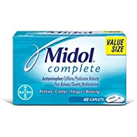 Midol Complete, Menstrual Period Symptoms Relief Including Premenstrual Cramps, Pain, Headache, and Bloating, Caplets, 40 Count