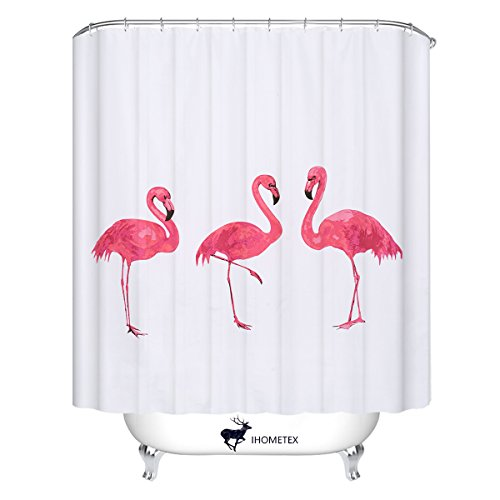 Flamingo Shower Curtains European Style Waterproof Bath Curt