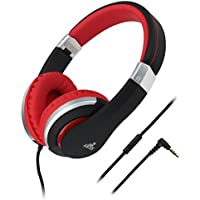 Artix Foldable Headphones with Microphone | NRGSound CL700 Compact On-Ear Stereo Earphones | Great for Kids/Teens/Adults - Black & Red