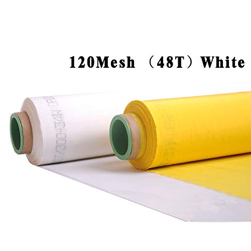 EQUTY BAYMERS 120 Mesh 3 Yards 50Inches(1.27m) Width Silk Screen Printing Fabric Mesh Screen Printing Mesh Wide High Tension Mesh Making Ink Supplies ()