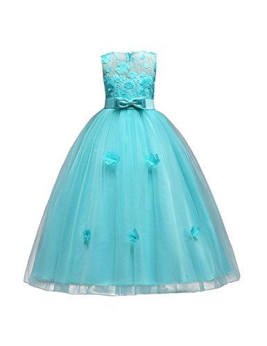 aibeiboutique Flower Girl Dresses Pageant Princess Bridesmaid Dress for Wedding First Communion (11-12 Years, Green) ()