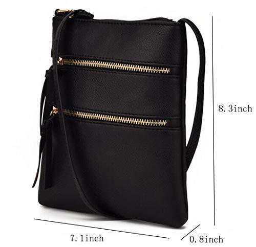 FairyBridal Triple Zipper Mutil-Pocket Leather Messenger Bag for Women,Crossbody Bag 5 Colors Satchel Purse (black(pu leather)) by FairyBridal (Image #6)