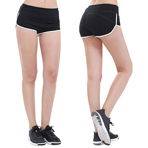 ZEALOTPOWER Women Booty Shorts Black Spandex Running Yoga Sports Plus Size Short Athletic (M (8-10), 16 - Black)