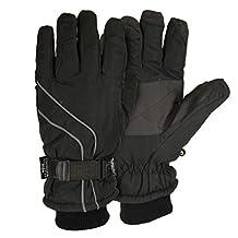 Men's Micro-Nylon Waterproof / Thinsulate Lined Cuffed Ski Glove (Black, Medium)